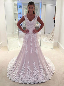 Strap Sweetheart Open Back Tulle Wedding Dresses Best Bride Gown With Appliques
