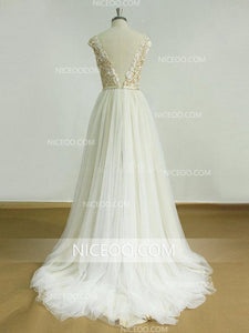 A Line V Neck Open Back Empire Waist Sleeveless Tulle Wedding Dresses Bride Gown - NICEOO
