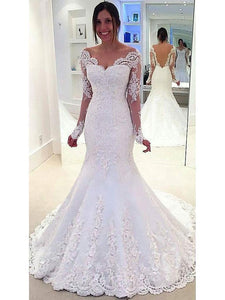 Mermaid Ivory Sweetheart Open Back Long Sleeves Wedding Dresses Bride Gown - NICEOO