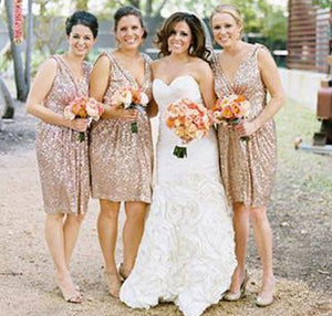 Simple Gold V Neck Strap Sleeveless Affordable Sequin Bridesmaid Dresses Prom Dresses
