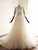 A Line Round Neck Long Sleeves Tulle Wedding Dresses Bride Gown With Appliques - NICEOO