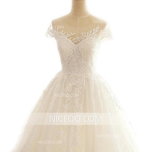 A Line Sweetheart Open Back Ivory Lace Wedding Dresses Bride Gown - NICEOO