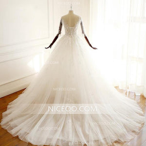 V Neck Open Back A Line Empire Waist Tulle Wedding Dresses Bride Gown