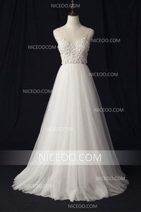 A Line V Neck V Back Empire Waist Tulle Wedding Dresses Best Bride With Appliques - NICEOO