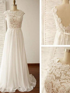 Ivory A Line Round Neck Open Back Long Wedding Dresses Chiffon Bride Gown