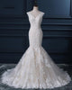 White Mermaid V Neck V Back Lace Train Dresses Long Bride Gown - NICEOO