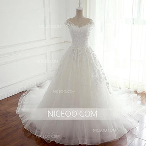 A Line Round Neck Open Back Lace Wedding Dresses Best Bride Gown - NICEOO