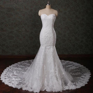 Ivory Mermaid Sweetheart Open Back Lace Wedding Dresses Best Bride Gown
