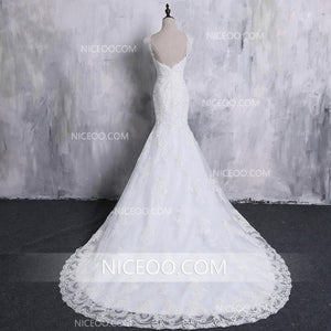 Mermaid V Neck Open Back Sleeveless Lace Wedding Dresses Best Bride Gown - NICEOO