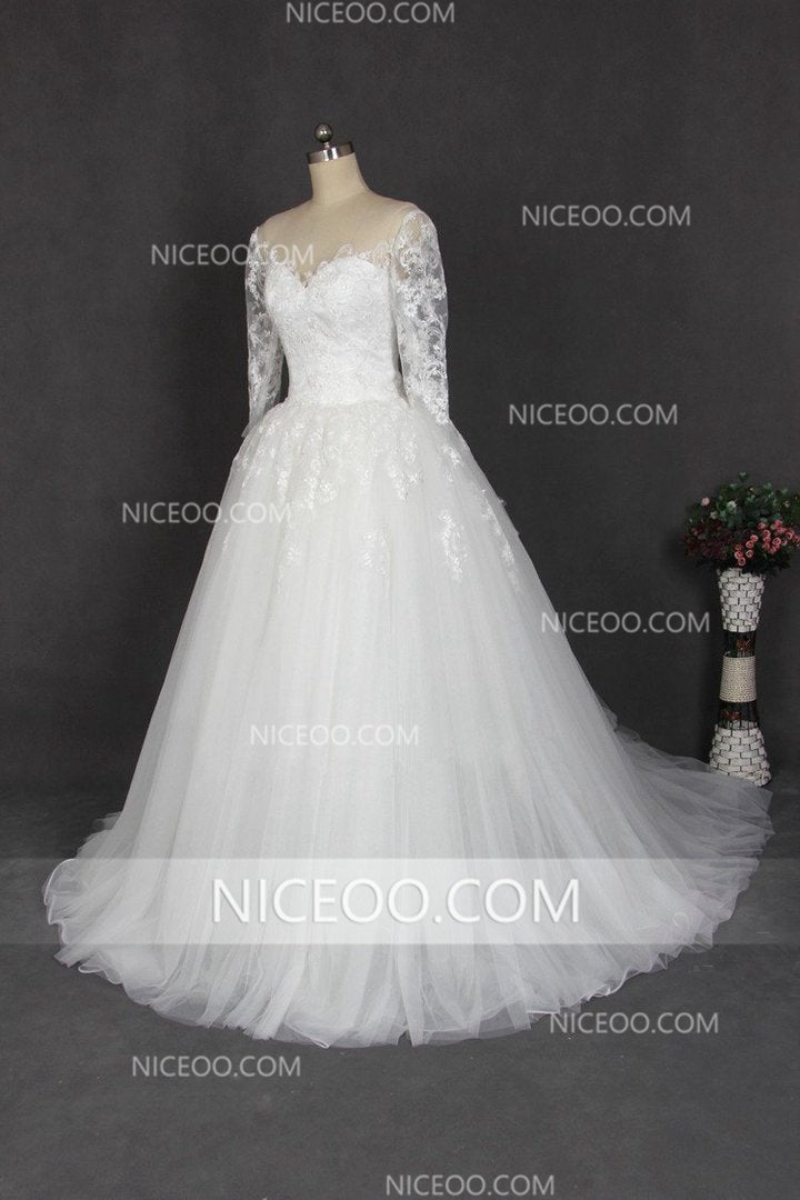 da78fb7bb3d0b2 White A Line Sweetheart Long Sleeves Tulle Wedding Dresses Best Bride Gown  - NICEOO