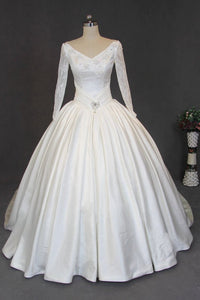 White A Line V Neck Cut Out Satin Wedding Dresses Best Bride Gown - NICEOO
