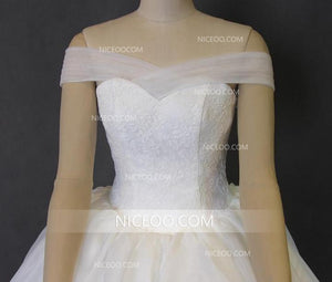 White A Line Off Shoulder Sweetheart Empire Waist Long Organza Wedding Dresses Best Bride Gown