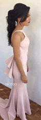 Sexy Pink Halter Open Back Mermaid Affordable Satin Evening Dresses Prom Dresses