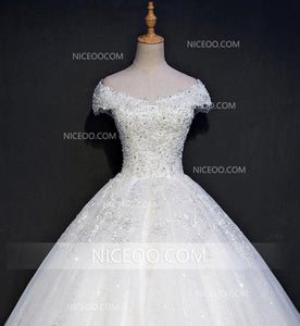 A Line White Off Shoulder V Neck Wedding Dresses Best Bride Gown - NICEOO