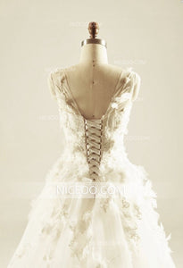 A Line Ivory Sweetheart Open Back Sleeveless Tulle Wedding Dresses Best Bride Gown - NICEOO