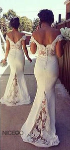 Sexy White Off Shoulder Open Back Mermaid Satin Evening Dresses Prom Dresses