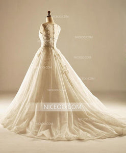A Line Round Neck Sleeveless Lace Wedding Dresses Best Bride Gown - NICEOO
