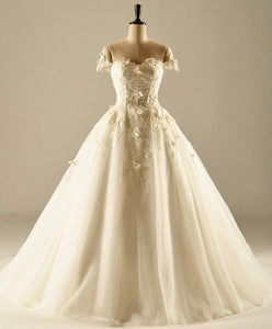 White A Line Sweetheart Off Shoulder Wedding Dresses Best Bride Gown - NICEOO
