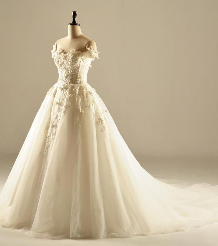 e1452f95536aed White A Line Sweetheart Off Shoulder Wedding Dresses Best Bride Gown -  NICEOO