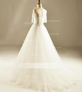 A Line White Round Neck Short Sleeves Tulle Wedding Dresses Best Bride Gown - NICEOO