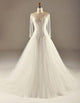 A Line Empire Waist Long Sleeves Tulle Wedding Dresses Best Bride Gown - NICEOO