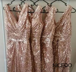 Sexy Gold Sleeveless V Neck Empire Waist Sequin Bridesmaid Dresses Evening Dresses
