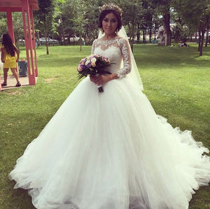 A Line Empire Waist Sweetheart Long Sleeves Tulle Bride Dresses Best Wedding Dresses - NICEOO