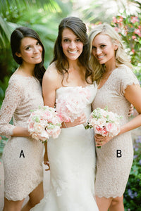 Two Styles Round Neck Slim Line Mini Lace Bridesmaid Dresses