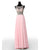 Pink Round Neck Sleeveless Open Back Chiffon Bridesmaid Dresses Best Evening Dresses - NICEOO