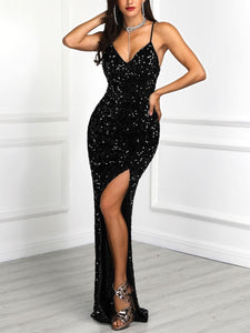 Sexy mermaid sequins Prom Dress Spaghetti Straps evening dresses