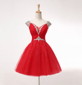 Red A Line Empire Waist Sweetheart Sleeveless Cocktail Dresses Short Homecoming Dresses