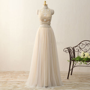 A Line Two Pieces Halter Tulle Bridesmaid Dresses Long Evening Dresses - NICEOO