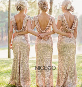 Simple Champagne Round Neck Backless Slim Line Sequin Bridesmaid Dresses Evening Dresses