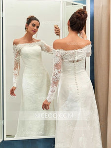 White Off Shoulder Long Sleeves Slim Line Wedding Dresses Best Bride Gown