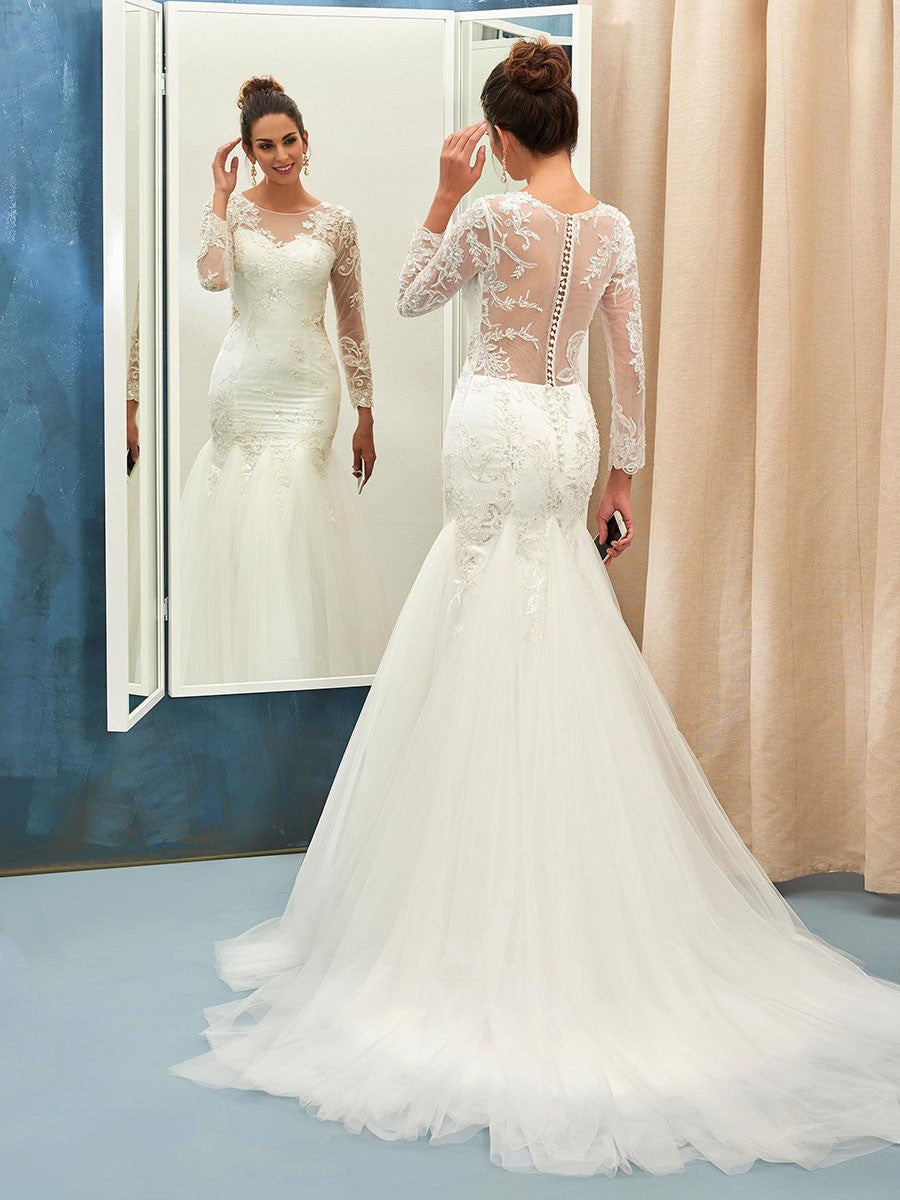 dbdade488b V Neck Lace Long Sleeves Mermaid Wedding Gowns – DACC