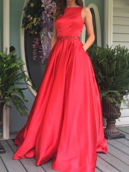 904d8f38767 Gorgeous Red A Line Round Neck Sleeveless Satin Prom Dresses Evening Dresses