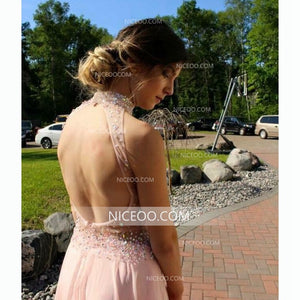 Pink Halter Sweetheart Open Back Side Split Chiffon Prom Dresses Evening Dresses - NICEOO