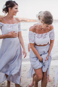 Two Pieces Off Shoulder Short Sleeves Chiffon Bridesmaid Dresses