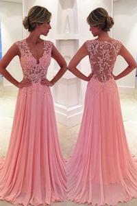 Classic V-Neck Court Train Pink Prom Dress Appliques evening dresses