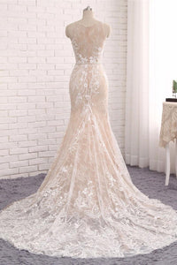 Elegant Round Neck Sleeveless Mermaid Satin Wedding Dresses Best Bride Gown With Appliques
