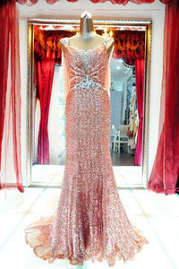 Open Back Cap Sleeves Slim Line Sequin Prom Dresses Cheap Evening Dresses - NICEOO