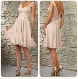 Cute Blush Pink A Line V Neck Empire Waist Backless Chiffon Bridesmaid Dresses Prom Dresses
