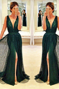 Dark green v-neck prom dress Sexy side slit evening dress