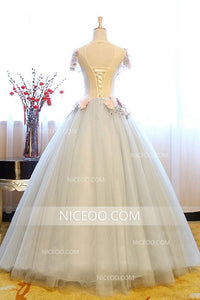 A Line V Neck Cut Out Short Sleeves Prom Dresses Ball Gowns With Appliques - NICEOO