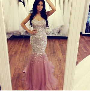 Sexy Strapless Open Back Mermaid Sequin Prom Dresses Evening Dresses - NICEOO