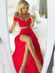 Red Two Pieces Off Shoulder V Neck Side Split Long Evening Dresses Satin Prom Dresses - NICEOO