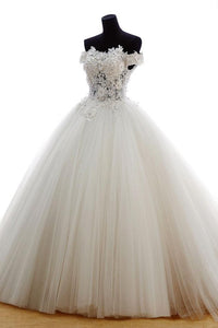 White A Line Off Shoulder Tulle Wedding Dresses Best Bride Gown With Appliques