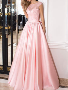 Pink A Line Round Neck Cap Sleeveless Prom Dresses Ball Gowns With Bow