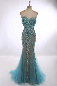Mermaid Strapless Open Back Tulle Prom Dresses Evening Dresses With Rhinestones - NICEOO