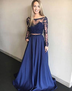 2 Pieces Satin Long Prom Dresses Long Sleeve Lace Evening Dresses